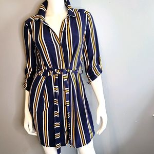 Derek Heart Jersey Striped Button Down Dress